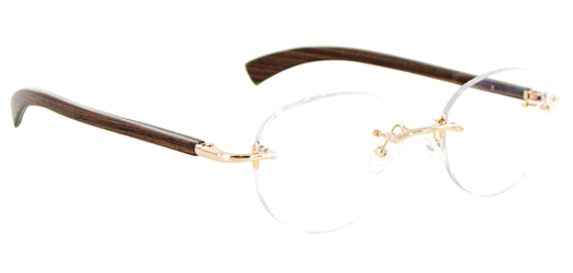 08b0d0d393d Gold   Wood Rimless Glasses