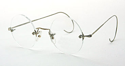 Titanium Eyeglass Frames Cable Temples : Rimless Round Eyeglasses - 14KT Diaflex Center Mount Nose ...
