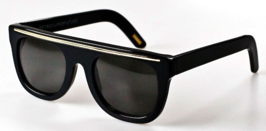 Super Flat Top Sunglasses Gold Super Flat Top Ciccio Black