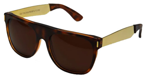 Super Flat Top Sunglasses Gold Super Flat Top Havana w Gold